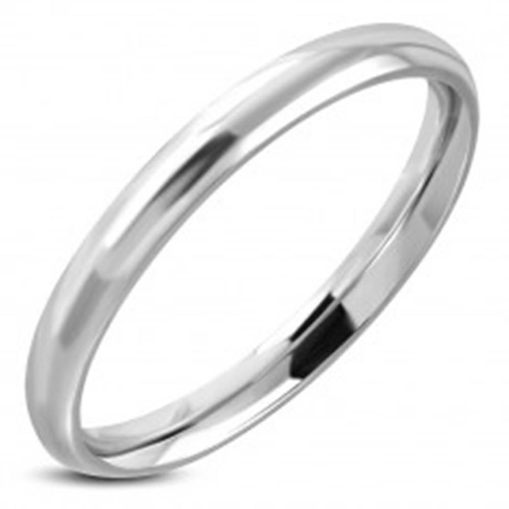 Šperky eshop Lesklá hladká obrúčka striebornej farby, chirurgická oceľ - Veľkosť: 47 mm