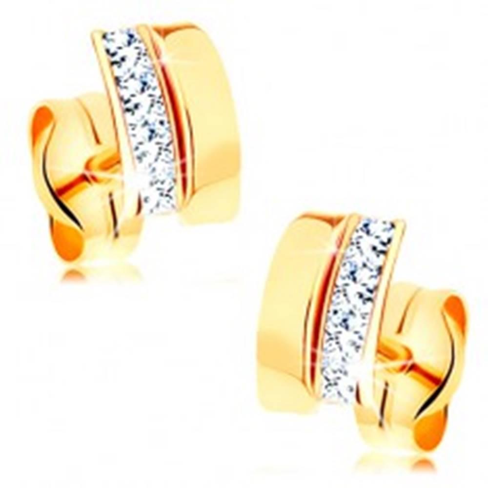Šperky eshop Náušnice v žltom 14K zlate - lesklý oblúčik, línia trblietavých čírych zirkónov