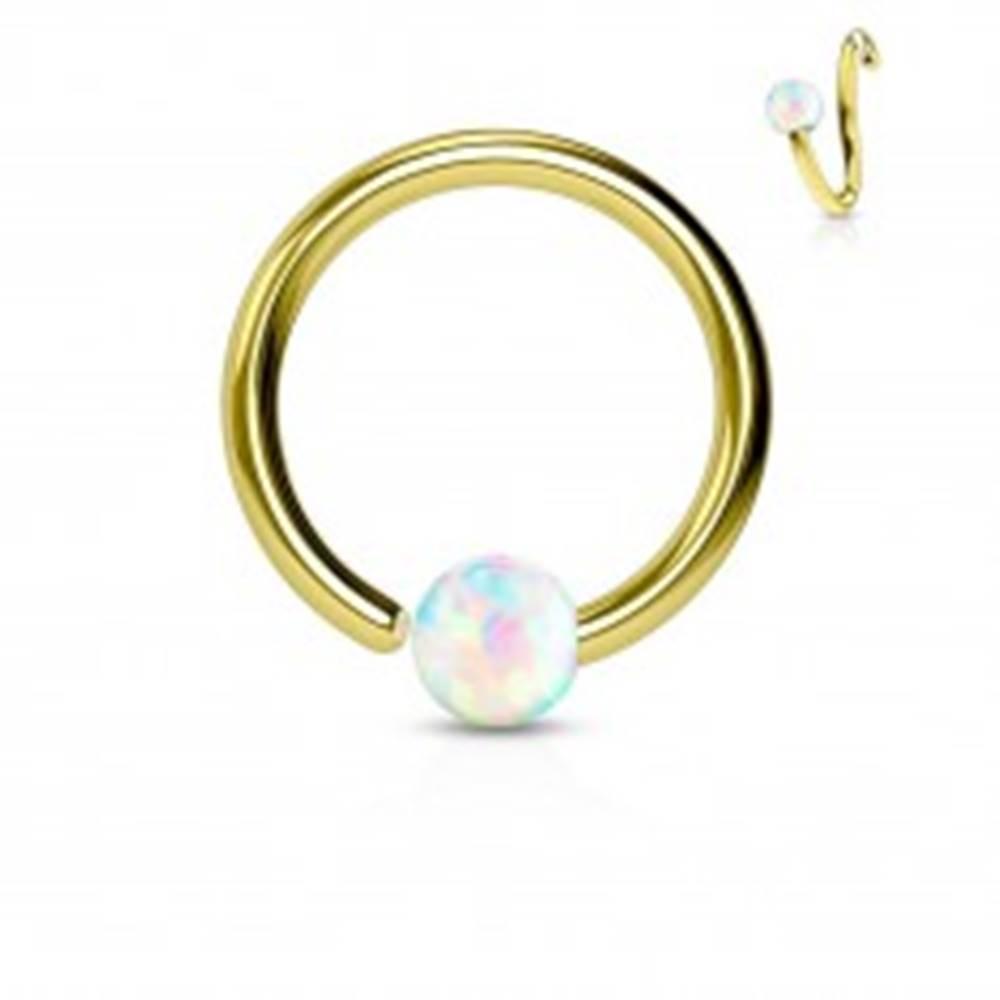 Šperky eshop Piercing z chirurgickej ocele, lesklý krúžok zlatej farby s opálovou guličkou - Hrúbka x priemer x veľkosť guličky: 0,8 x 10 x 2 mm