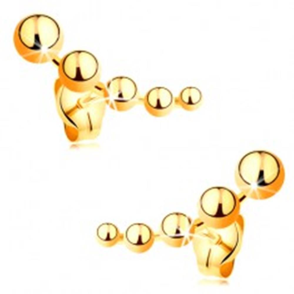 Šperky eshop Puzetové náušnice zo žltého zlata 585 - zmenšujúce sa guľôčky