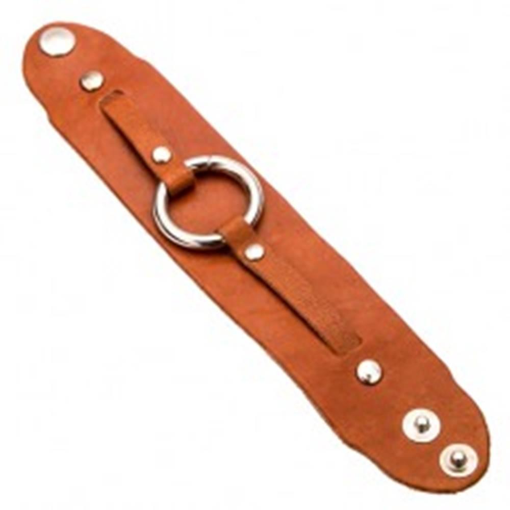 Šperky eshop Škoricovohnedý kožený náramok na ruku, lesklá kruhová pracka