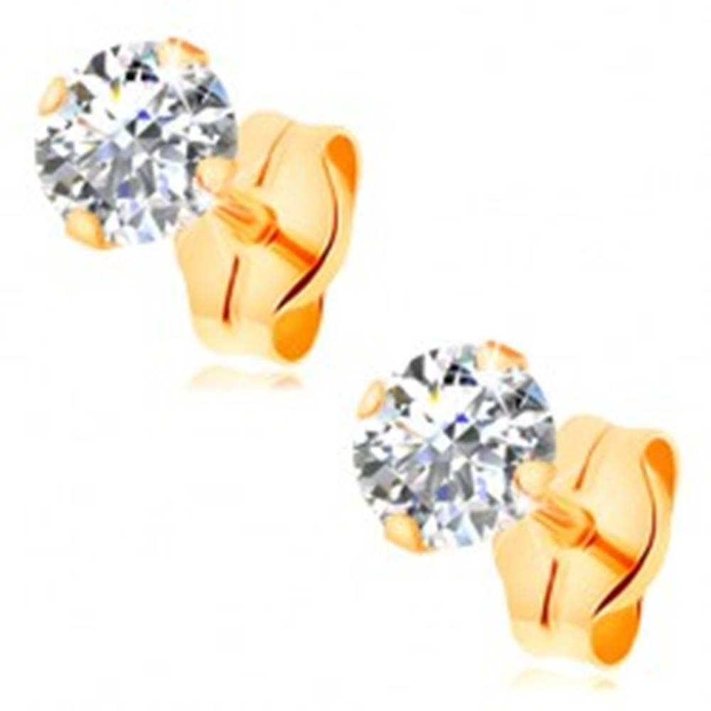 Šperky eshop Zlaté puzetové náušnice 585 - číry okrúhly zirkón so štyrmi paličkami, 4 mm