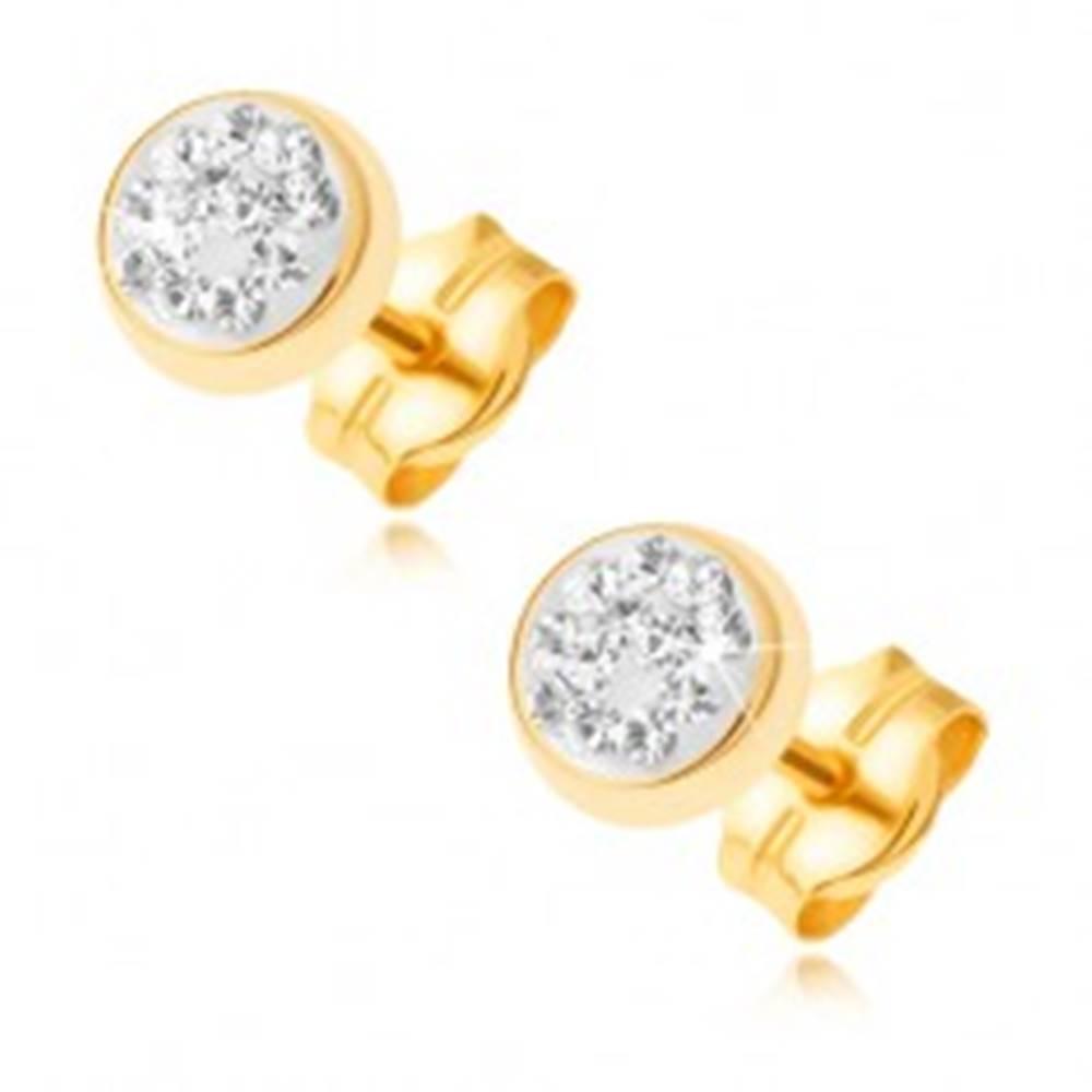 Šperky eshop Zlaté puzetové náušnice 585 - lesklá okrúhla objímka, číre zirkóniky