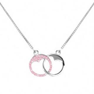 Strieborný 925 náhrdelník - dva krúžky so srdiečkovým výrezom, svetloružové zirkóny