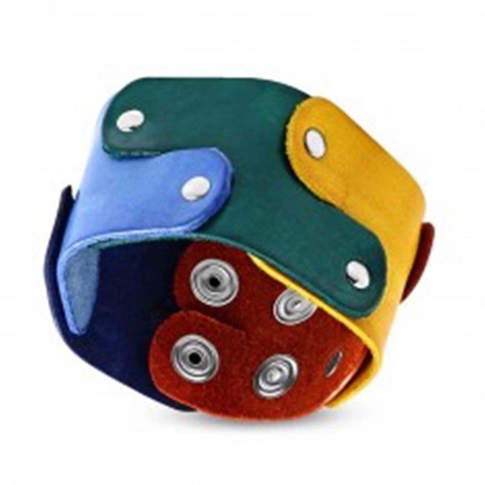 Šperky eshop Náramok z kože - farebné dieliky puzzle spájané nitmi, motív PRIDE
