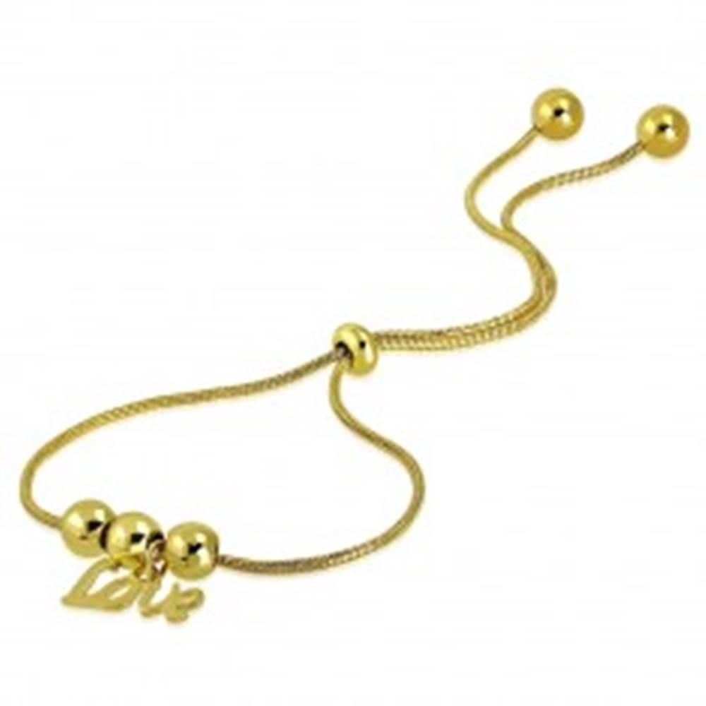 """Šperky eshop Náramok zlatej farby z chirurgickej ocele - guľôčky, prívesok """"Love"""", motív hadej kože"""