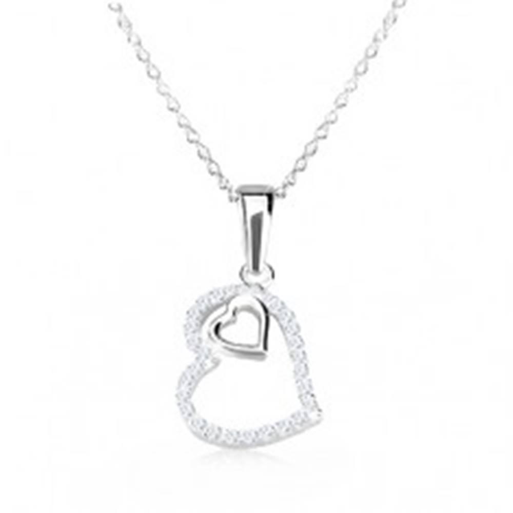 Šperky eshop Strieborný 925 náhrdelník - obrys nepravidelného srdca so zirkónmi, srdiečko