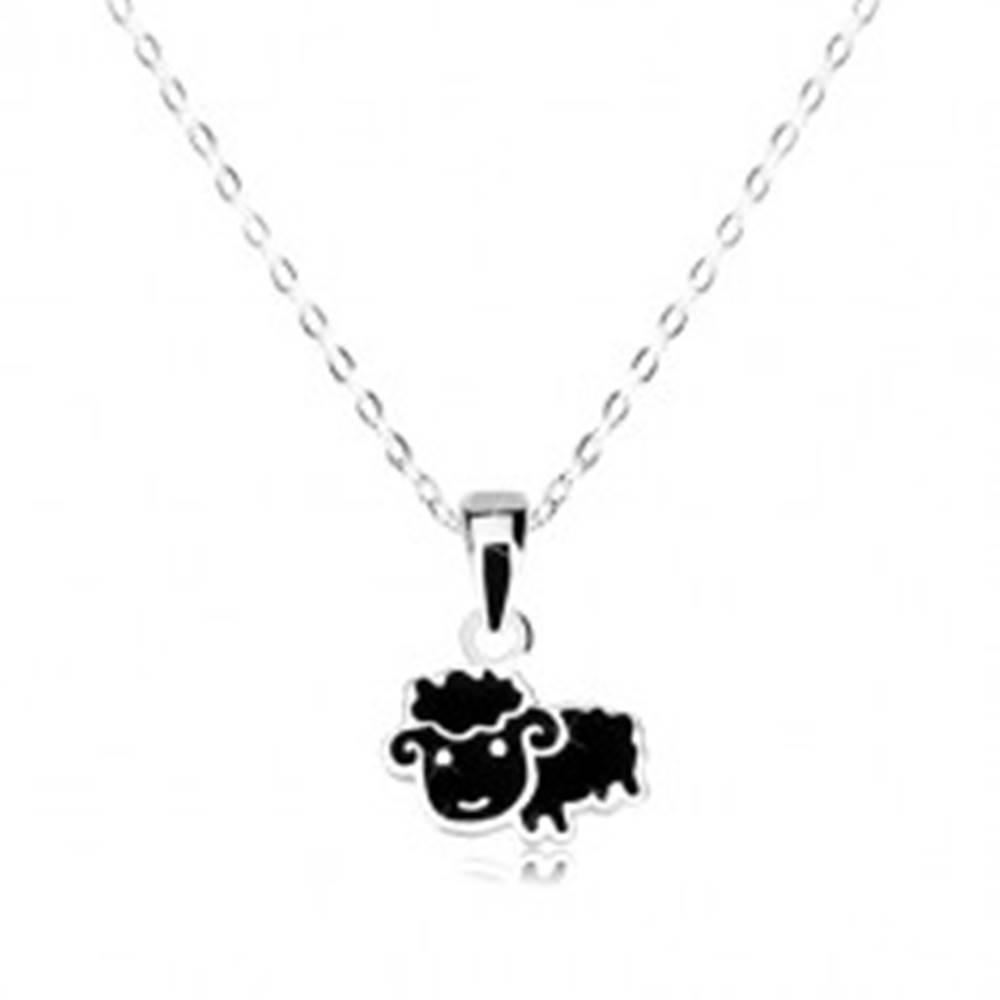 Šperky eshop Strieborný náhrdelník 925 - čierna ovca, ligotavá retiazka z oválnych očiek