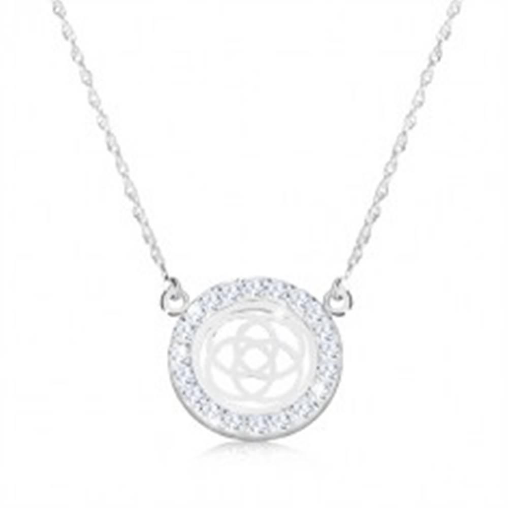 Šperky eshop Strieborný náhrdelník 925 - štvorcípy keltský uzol v zirkónovom kruhu, jemná retiazka