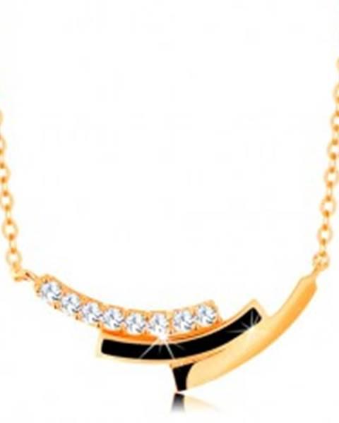 Šperky eshop Náhrdelník zo žltého zlata 585 - zirkónový, čierny a hladký oblúk