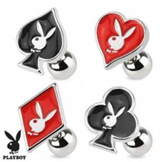 Oceľový piercing do tragusu, symboly hracích kariet, Playboy - Symbol: Kára