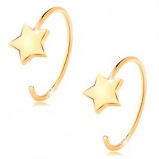 Okrúhle náušnice zo žltého 14K zlata - malá päťcípa hviezda