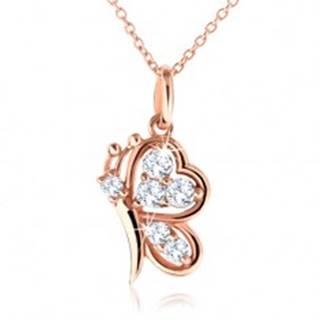 Strieborný náhrdelník 925, motýlik medenej farby s čírymi zirkónmi