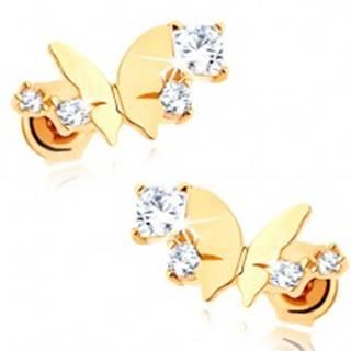 Zlaté náušnice 585 - lesklý malý motýľ, oblúk z čírych trblietavých zirkónov