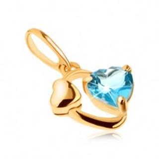 Zlatý prívesok 375 - kontúra oválu, lesklé srdiečko, srdce z modrého topásu