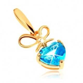 Zlatý prívesok 375 - mašlička a srdiečkový topás v modrom odtieni