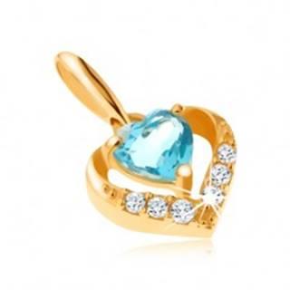 Zlatý prívesok 375 - zirkónový obrys srdca, modrý srdiečkový topás