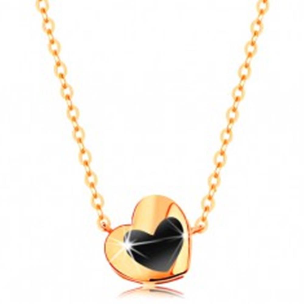 Šperky eshop Náhrdelník zo žltého 14K zlata - lesklé srdiečko s čiernou glazúrou, retiazka