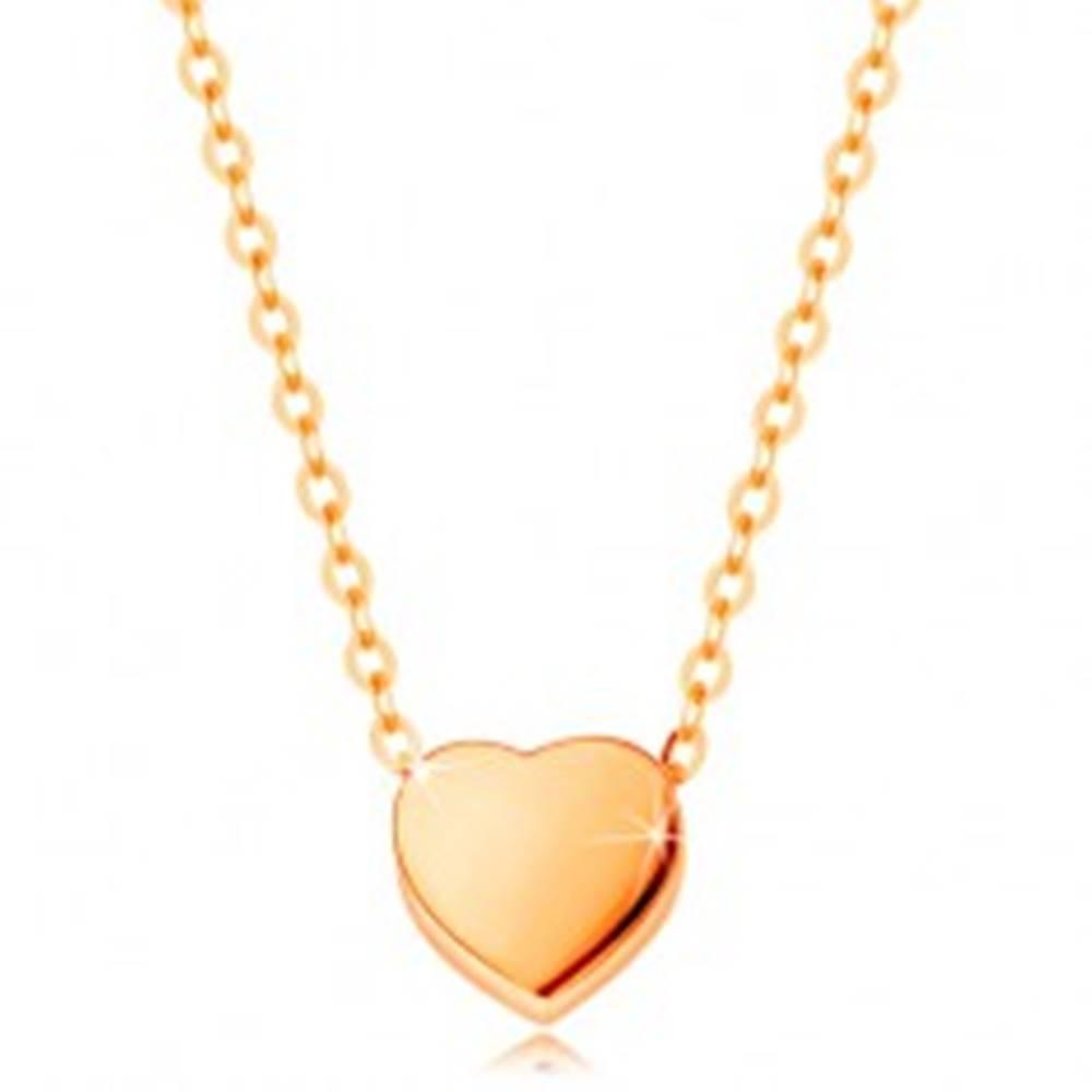 Šperky eshop Náhrdelník zo žltého 14K zlata - lesklé súmerné srdiečko, retiazka z oválnych očiek