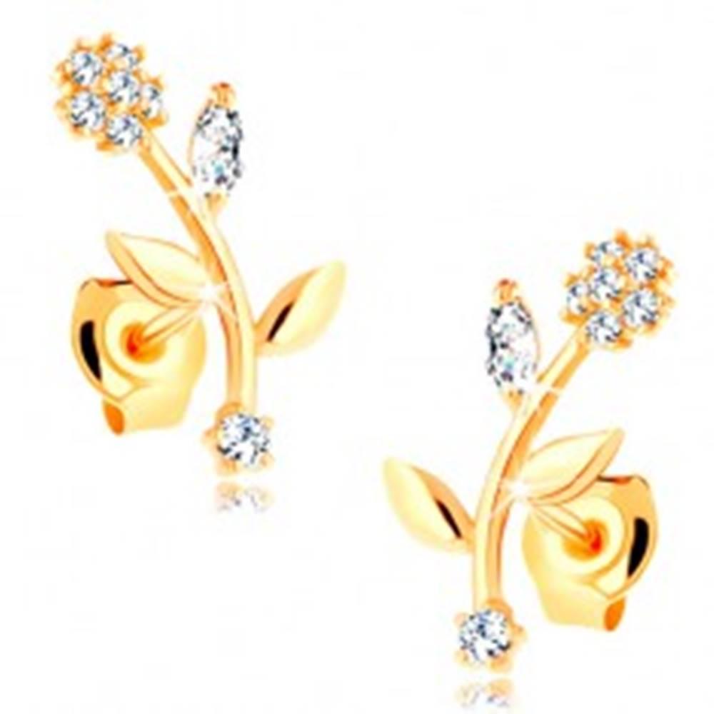 Šperky eshop Náušnice zo žltého 14K zlata - kvet so zahnutou stonkou, číre zirkóny