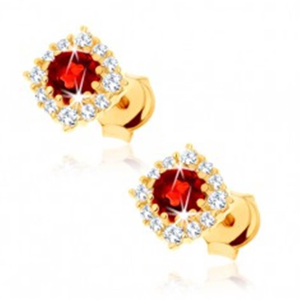 Šperky eshop Náušnice zo žltého 9K zlata - štvorcový zirkónový obrys, okrúhly červený granát