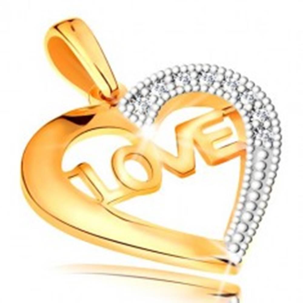 Šperky eshop Prívesok v 14K zlate - kontúra srdca s nápisom v strede a zirkónikmi