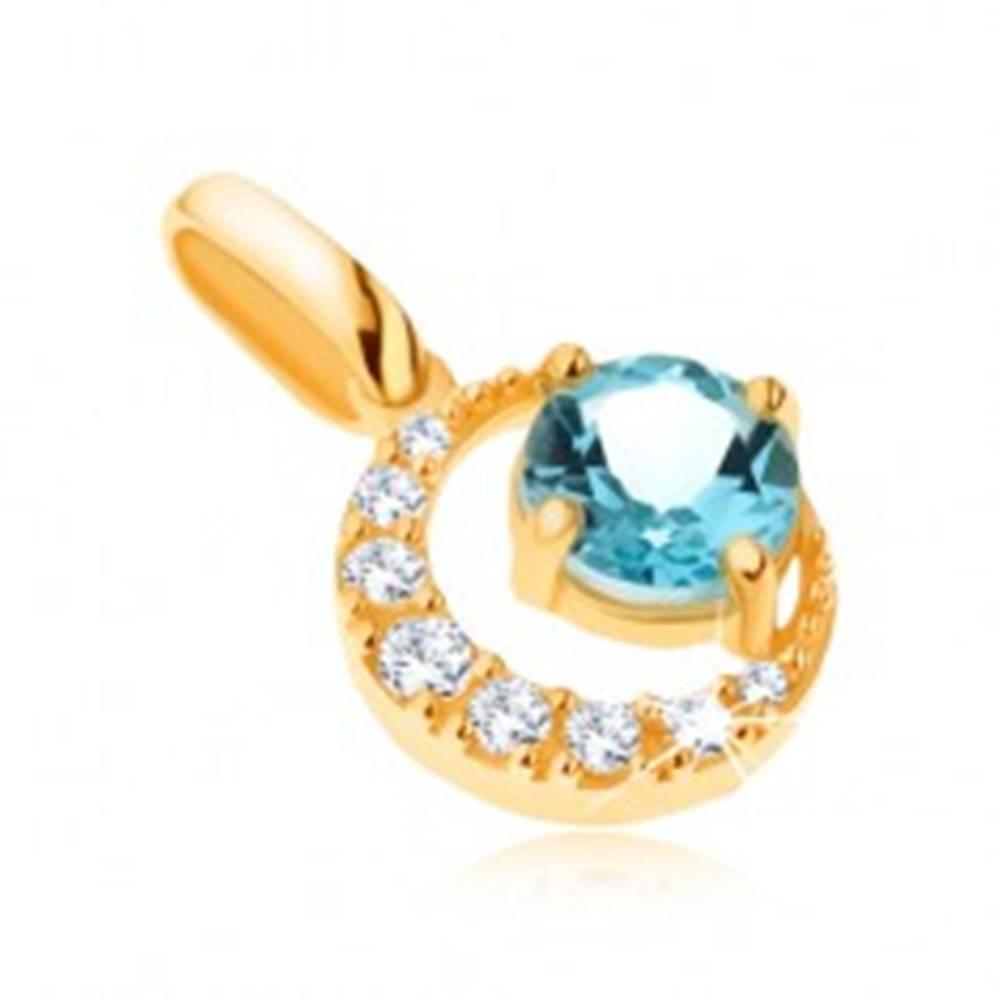 Šperky eshop Prívesok v žltom 14K zlate, zirkónový kosák mesiaca, okrúhly modrý topás