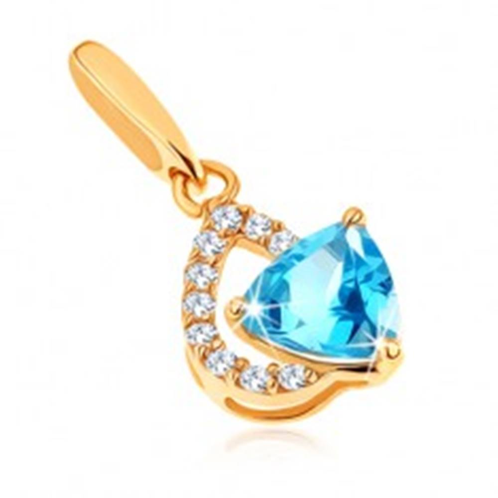 Šperky eshop Prívesok zo žltého 14K zlata - číra zirkónová kontúra kvapky, modrý topás