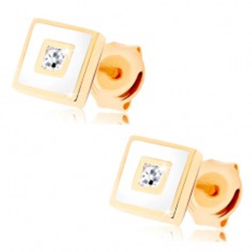Šperky eshop Zlaté náušnice 585 - štvorček zdobený bielou glazúrou, číry zirkón