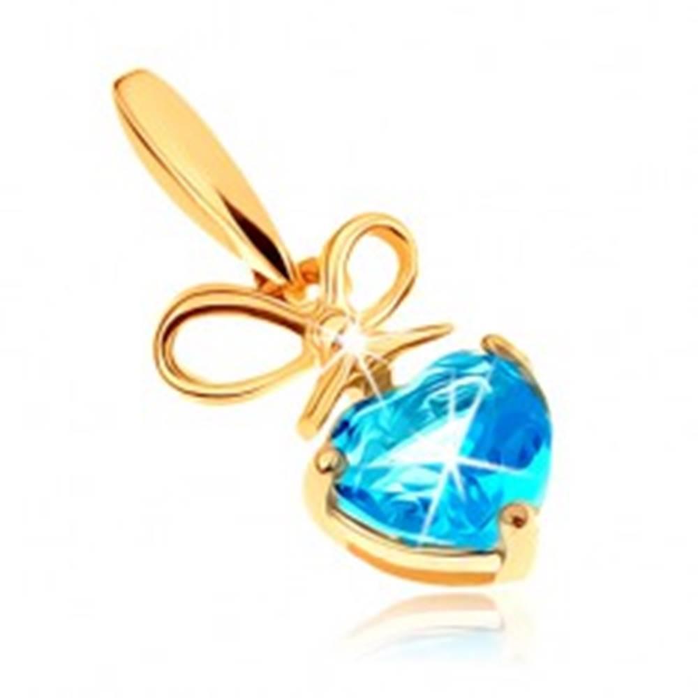 Šperky eshop Zlatý prívesok 375 - mašlička a srdiečkový topás v modrom odtieni