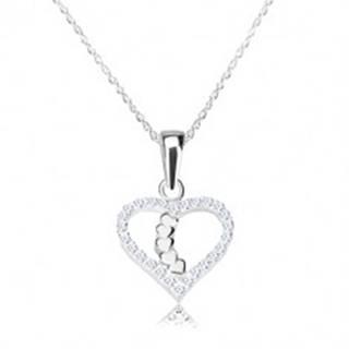 Strieborný náhrdelník 925 - obrys srdca s ligotavými zirkónmi, srdiečková línia
