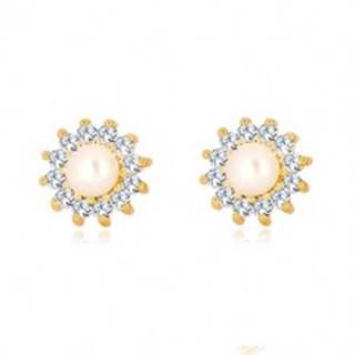 Zlaté 9K náušnice - trblietavý zirkónový kvet, perla bielej farby, puzetky