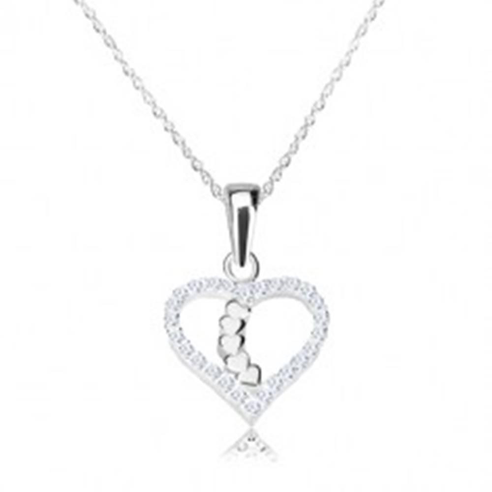 Šperky eshop Strieborný náhrdelník 925 - obrys srdca s ligotavými zirkónmi, srdiečková línia