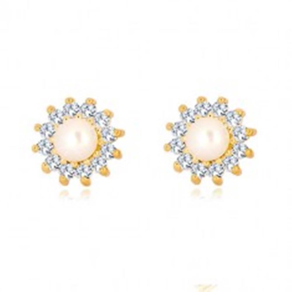 Šperky eshop Zlaté 9K náušnice - trblietavý zirkónový kvet, perla bielej farby, puzetky
