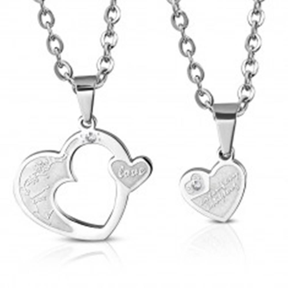 Šperky eshop Oceľový prívesok pre dvoch - dve srdcia s kvietkami, zirkón