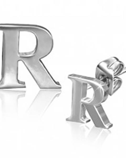 Šperky eshop Náušnice z ocele - tlačené lesklé písmeno R