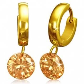 Okrúhle náušnice z chirurgickej ocele - zlatá farba, oranžový kamienok