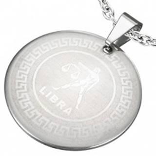 Prívesok z chirurgickej ocele - znamenie zverokruhu VÁHY v kruhu