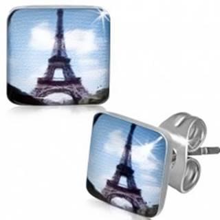 Štvorcové oceľové náušnice s Eiffelovou vežou