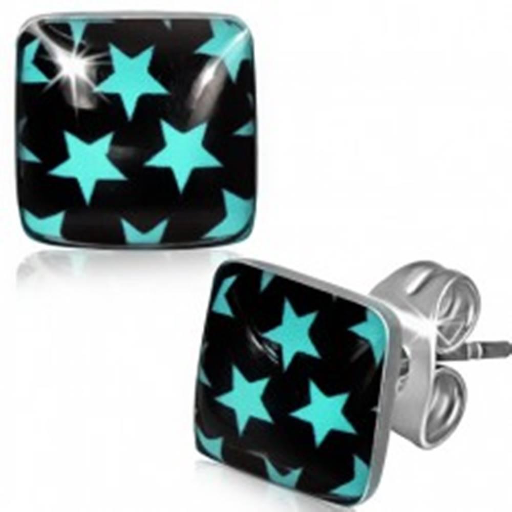 Šperky eshop Oceľové náušnice - modré hviezdy na čiernom štvorci