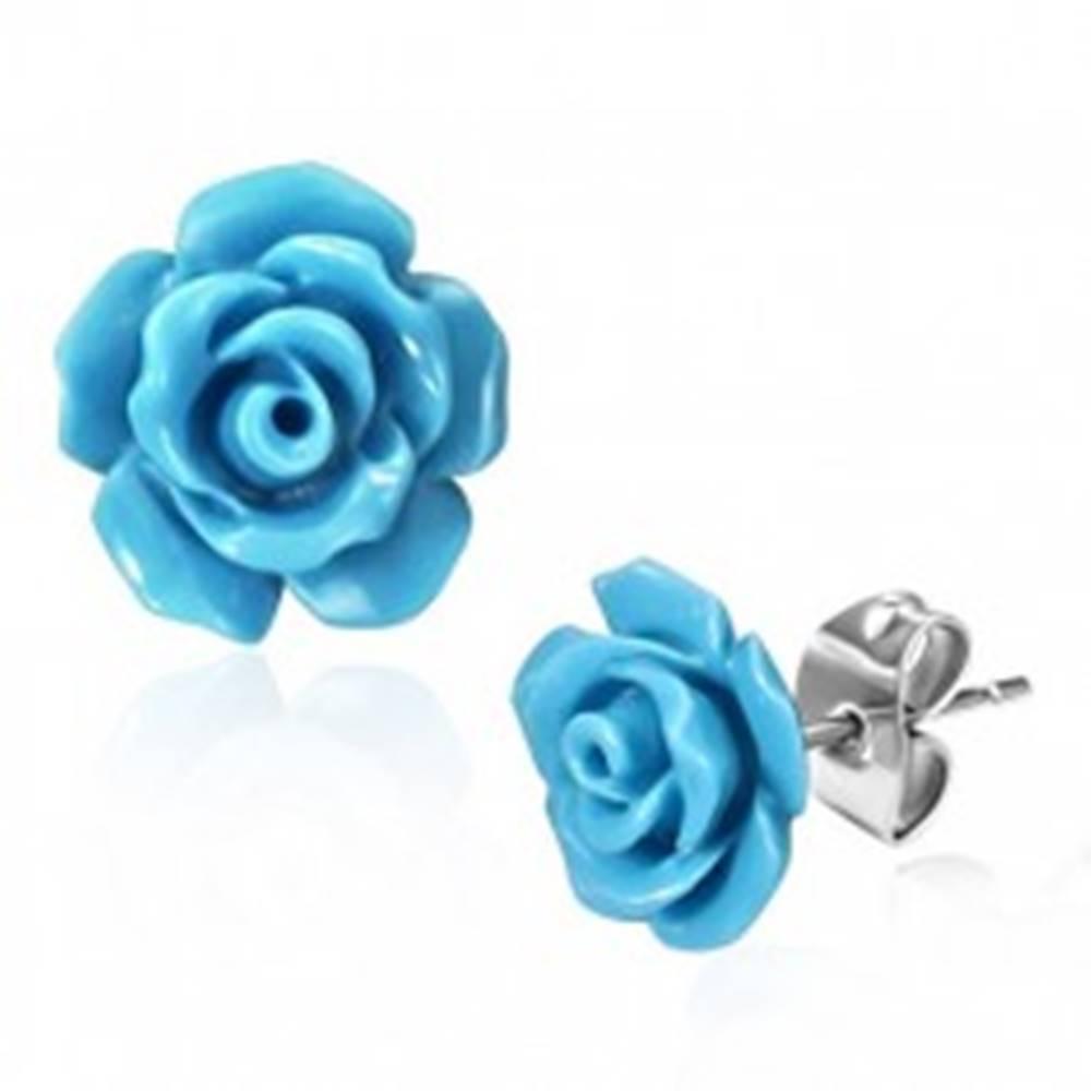 Šperky eshop Oceľové puzetové náušnice, lesklé modré kvietky ruže