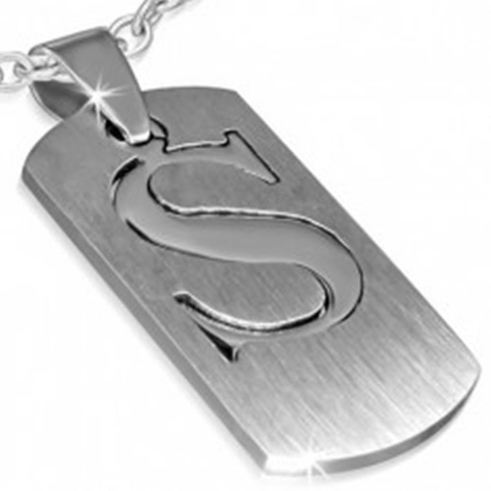 """Šperky eshop Oceľový prívesok - dvojdielny štítok s písmenom """"S"""""""