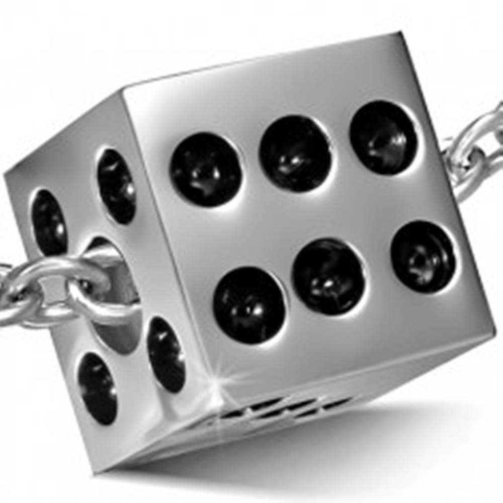 Šperky eshop Oceľový prívesok - lesklá hracia kocka