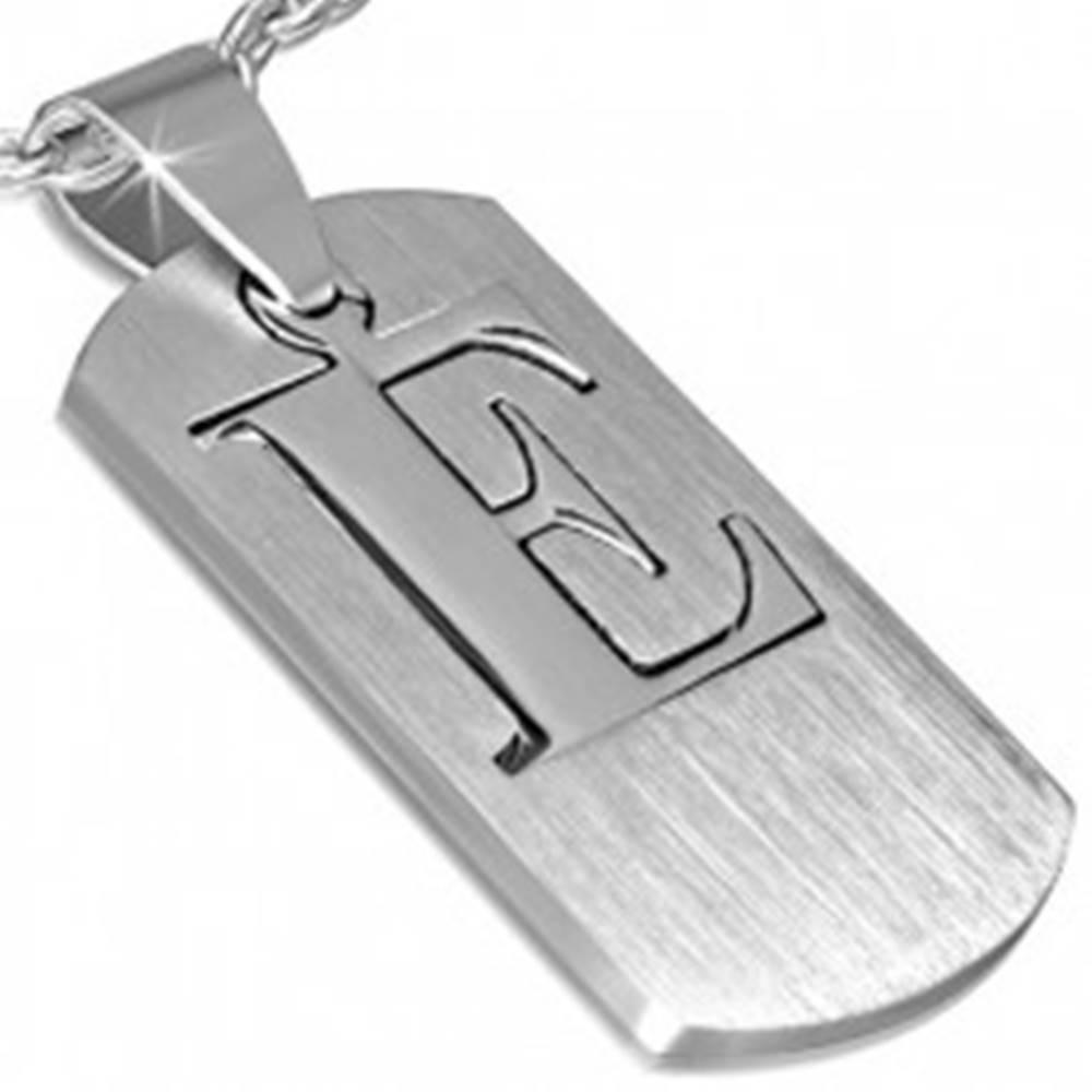 Šperky eshop Oceľový prívesok - štítok s písmenom E, dvojdielny