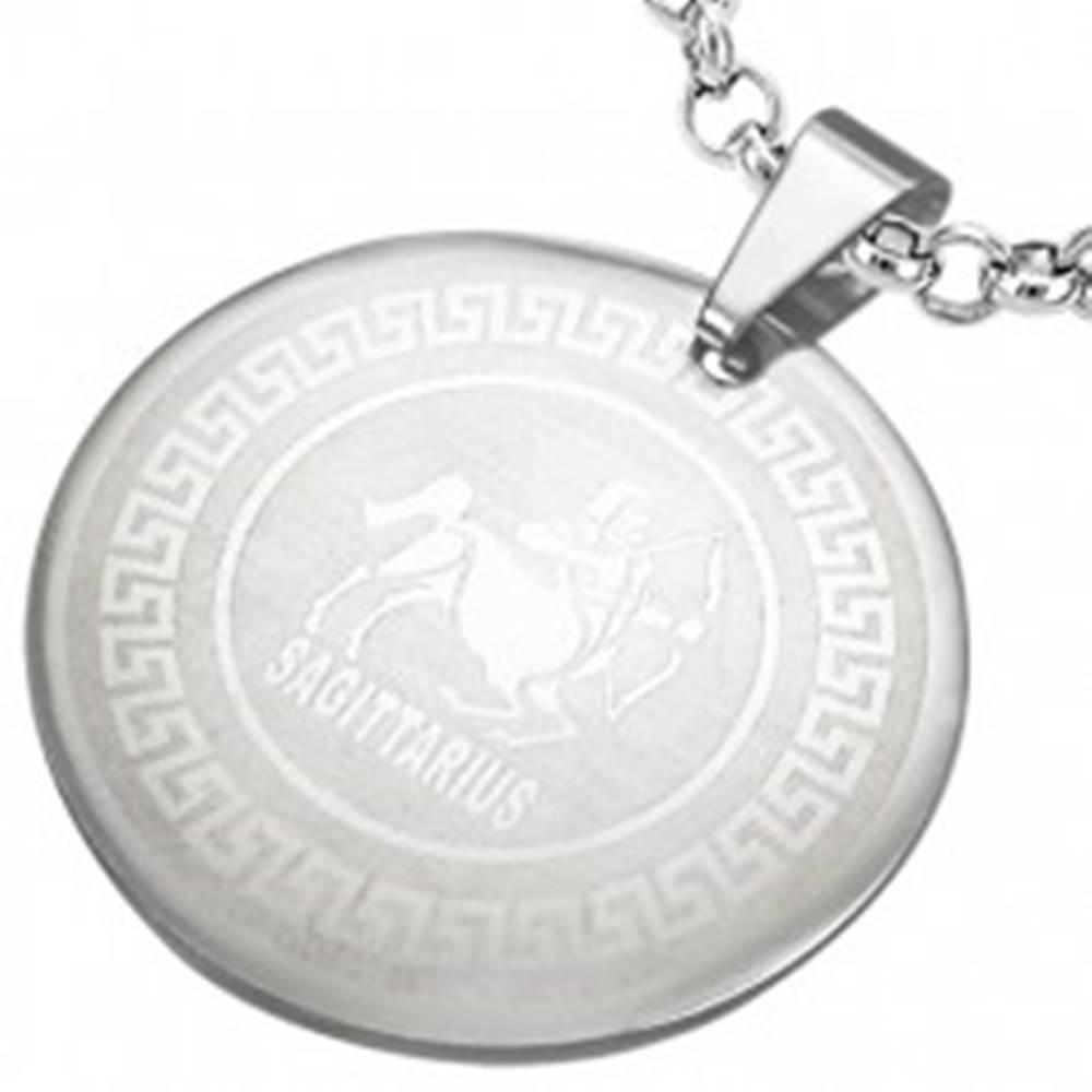 Šperky eshop Prívesok z chirurgickej ocele - znamenie zverokruhu STRELEC v kruhu