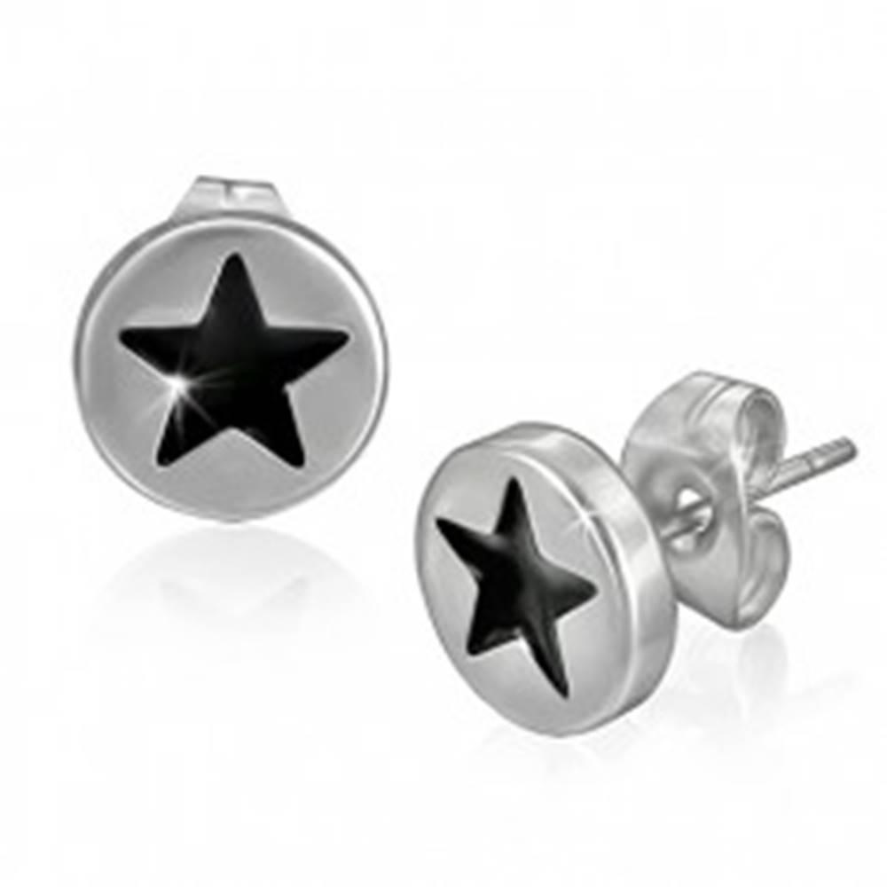 Šperky eshop Puzetové náušnice z ocele - čierna hviezda v kruhu