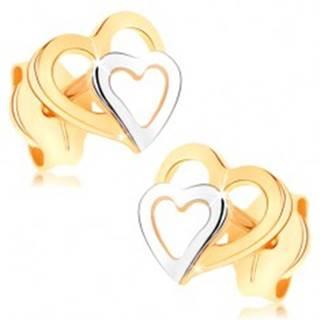 Náušnice z 9K zlata - dvojfarebné obrysy srdiečok, puzetky, vysoký lesk