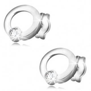 Náušnice z bieleho zlata 585 - žiarivý číry diamant v lesklej obruči