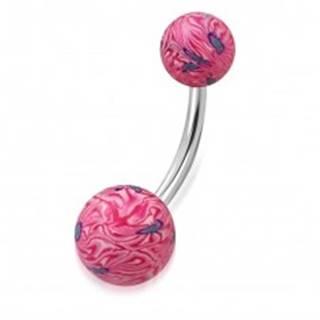 Piercing do pupku - ružovo-biele guličky FIMO s abstraktným motívom
