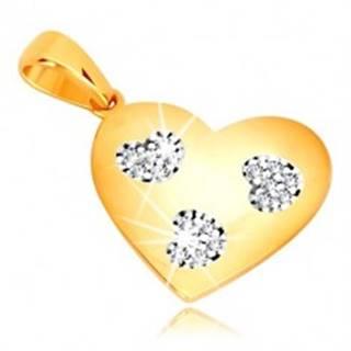 Prívesok v žltom zlate 585 - symetrické srdce so srdiečkovými výrezmi, zirkóny